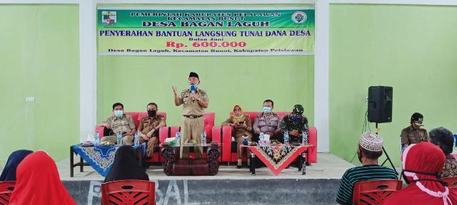 Bupati Pelalawan Menyerahkan Secara Simbolis Bantuan BTL Dana Desa